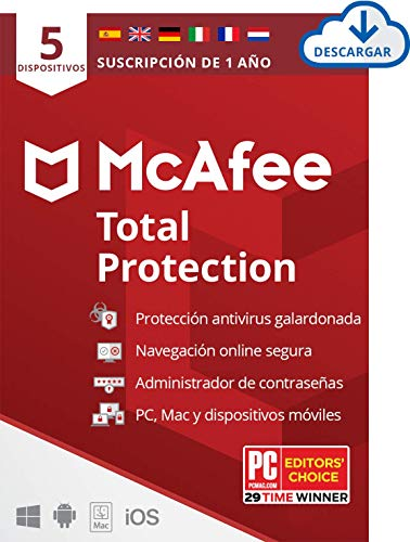 McAfee Total Protection 2020, 5 Dispositivos, 1 Año, Software Antivirus, Seguridad de Internet, Manager de Contraseñas, Seguridad Móvil, Compatible con PC/Mac/Android/iOS, Edición Europea, Descargable