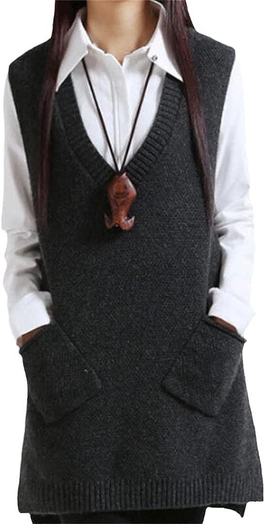 WaistQun V-Neck Knit Long Vest Pullover Sleeveless Women Sweater Spring Autumn Women's