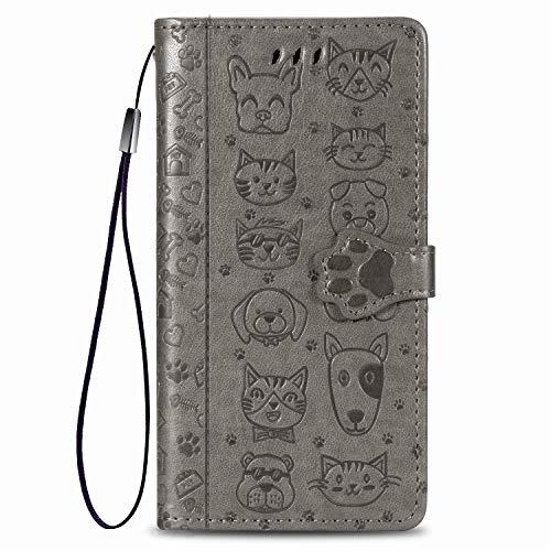 Fertuo Funda para Redmi Note 9S / Note 9 Pro, Carcasa Libro con Tapa de Cuero con Ranuras de Tarjeta, Soporte, Cierre Magnético [Gato Perro] Flip Case Cover para Xiaomi Redmi Note 9S, Gris