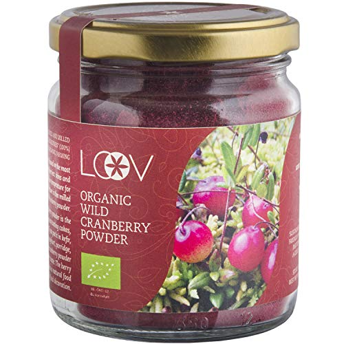 LOOV Wildes Bio Cranberry Pulver (Tresterpulver), 100 g, reich an Antioxidantien und Phytonährstoffen, nur aus Beerenhäuten und -kernen, ohne Zuckerzusatz, wild gewachsen in nordischen Wäldern