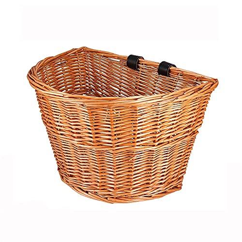 Laiashley Cesta para bicicleta en forma de D de mimbre, con correas de piel marrón claro, cesta de almacenamiento para manillar de bicicleta de 13,76 pulgadas para adultos y niños
