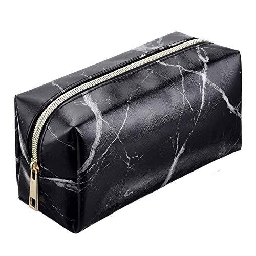 SRXSMGS Bolsa de cosméticos para mujer de mármol, bolsa de almacenamiento de cosméticos de gran capacidad, portátil, para viajes, almacenamiento, color negro, tamaño: 20 x 10 x 7,6 cm)