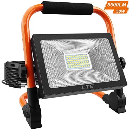 LED Work Light 50W 5500LM Portable Outdoor Flood Light 6000K IP66 Waterproof Camping Security Lights for Outdoor Lighting/Hunting/Camping/Hiking/Car Repairing (Orange)