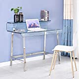 SMARTIK Morden Thicken Glass Computer Desk for Small Spaces, Easy Assembly Writing Computer Desk for Home,Writing Desk Workstation Office Desk