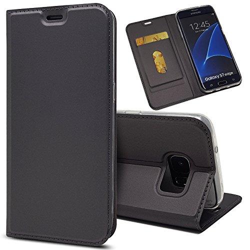 Copmob Funda Samsung Galaxy S7 Edge,Ultradelgado Flip Libro Funda de Cuero PU,[Cierre Magnético][1 Ranura][Función de Soporte],Carcasa Case para Samsung Galaxy S7 Edge - Negro