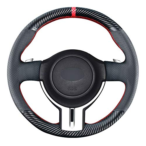 Carkooler DIY Stitching Carbon Fiber Steering Wheel Cover for Toyota 86 / Scion FR-S 2013-2016 / Subaru BRZ 2013 2014 2015 2016 15 inches Leather Interior Accessories (Carbon Fiber+Leather)