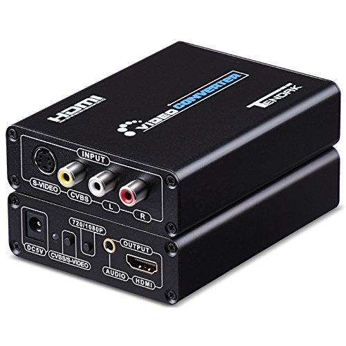 Tendak Composite S-Video AV RCA CVBS zu HDMI Adaptor N64 PS2 to HDMI Konverter Adapter Unterstützt 720p/1080p mit 3RCA S-Video Kabel