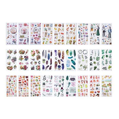 Healifty 27 Stücke Dekorative Aufkleber Glas Aufkleber Aufkleber Cartoon Glas Aufkleber für Gitarre Skateboard Motorrad Koffer Planer Zeitschriften