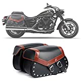 Alforjas Motocicleta, Alforjas Impermeables de Cuero Sintético para Alforjas para Motocicleta, para Todas Las Motocicletas y Bicicletas (Izquierda y Derecha)