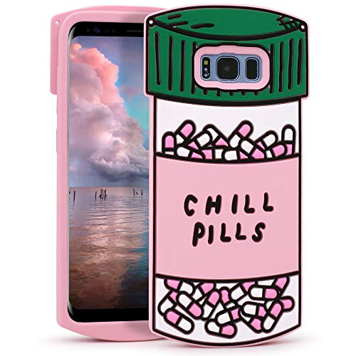 Megantree Cute case for Samsung Galaxy S8 Plus Case, Galaxy S8+ Case, Funny 3D Cartoon Chill Pills Capsule Bottle Shaped Soft Silicone Full Protection Shockproof Cases Cover for Kids Girls Lady Women