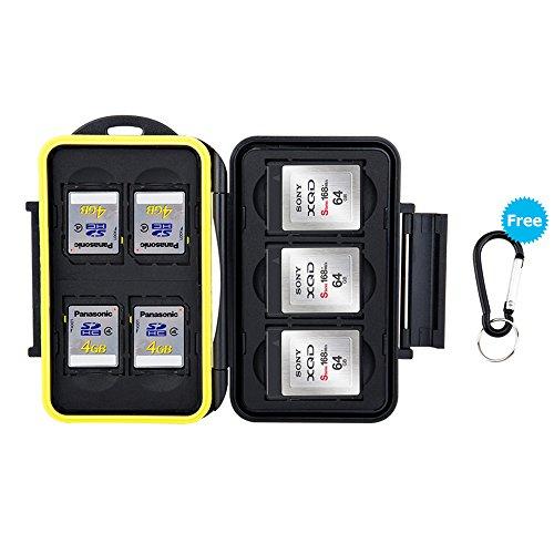 JJC Feste wasserdicht Speicherkarten Schutzhülle für 4 SDXC SDHC SD-Karten und 3 XQD Card mit Karabiner