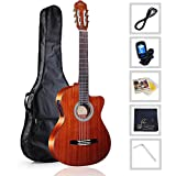 WINZZ Nylon-string Classical Guitar 39 Inches Electric Build-in Pickup Cutaway with Extra Strings, Bag, Cleaning Cloth, Tuner and Cable