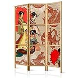 murando - Biombo Geisha 135x171 cm - 3 Paneles Lienzo de Tejido no Tejido Tela sintético Separador Madera Design de Moda Hecho a Mano Deco Home Office Japón p-B-0027-z-b