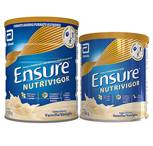 Ensure Pack de 2 NutriVigor Complemento Alimenticio con Proteínas, Vitaminas y Minerales, Sabor Vainilla - 850 gr + 400 gr
