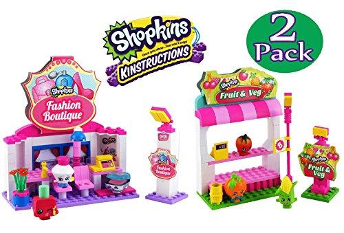 Shopkins Kinstructions Fashion Boutique and Fruit & Vegetable Stand Complete Bundle - 2 Pack