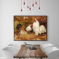牧歌的な動物鶏小屋風景油彩絵画インテリア家禽ヴィンテージ帆布ポスターアートパネル版画農家壁装飾写真40x60cmいいえフレーム