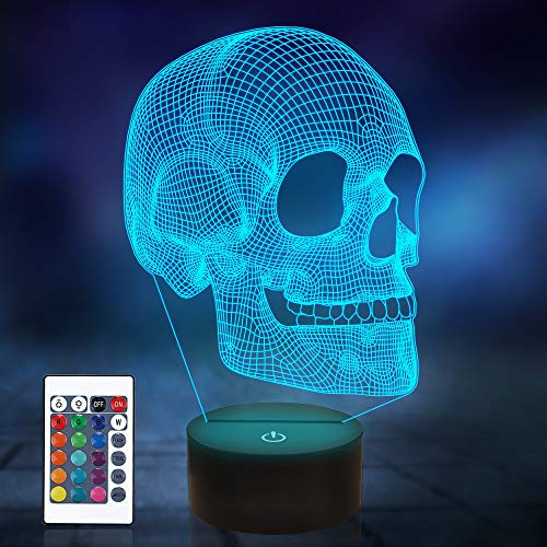 Skull Night Light for Kids, 3D Illusion Lamp LED Desk Table Lamp 16 Colors Change with Remote Control and Timing Function, Best Christmas Halloween Birthday Gift for Child Baby Boys