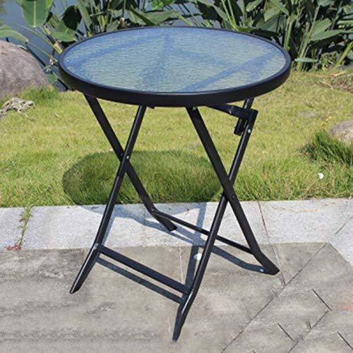 HUOQILIN Klaptafel buiten klaptafel beweegbare kleine ronde salontafel van glas theelade balkon