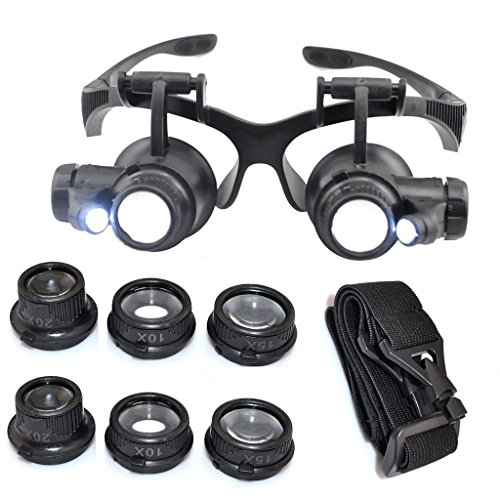 Kabalo 10X 15X 20X 25X LED Magnifier Double Eye Glasses Loupe Lens Jeweler Watch Repair Tool Set - OCCHIALI LENTE INGRANDIMENTO PRECISIONE OCULARI 4 LENTI LUCI LED