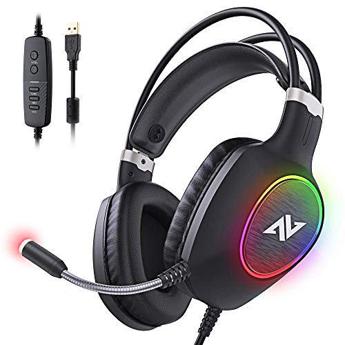 ABKONCORE Gaming Headset with Noise-canceling Microphone, Lightweight PS4 Headset with 50mm Speaker Driver, Cool RGB LED Light, Gaming Headphone with Pressure-Relieving Ear Cushion for PS4, PC, Laptop