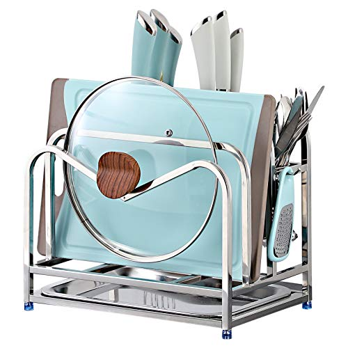 MAXCOOK Stainless Steel Cutting Board Rack Kitchen Cookware Storage Rack Holder for Chopping Board Chopsticks Knife and Pot lid(Silver)