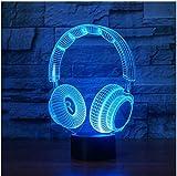 3D Lampe DJ Kopfhörer Studio Monitor Musik Kopfhörer Hi-Fi Nachtlicht 3D Bunte Kopfhörer Schreibtischlampe Geschenk Frau Dekoration