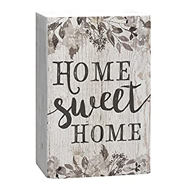 Home Sweet Home Grey Floral White 4 x 5 Inch Solid Pine Wood Barnhouse Block Sign