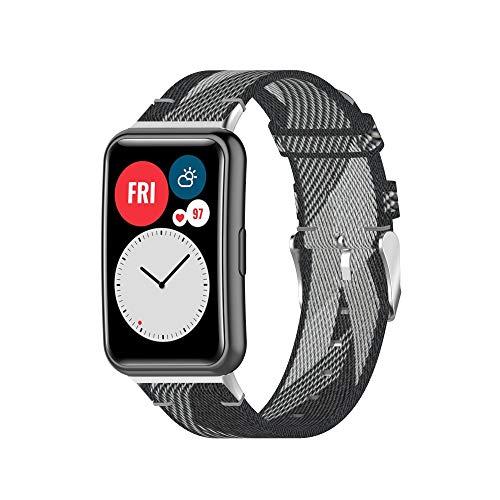 Ruentech Kompatibel mit Huawei Watch Fit Fitness Tracker Armband Stoff Gewebt Atmungsaktiv Leichtes Ersatz Armband Armbänder Gurt (Graue Streifen)