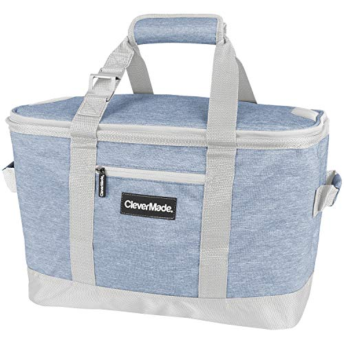 CleverMade Collapsible Cooler Bag: Insulated Leakproof 50 Can Soft Sided Portable Cooler Bag for Lunch, Grocery Shopping, Camping and Road Trips, Steel Blue/Cream