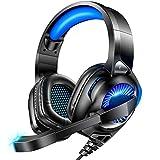 GOOSERA 【2020最新版 重低音強化】 ゲーミングヘッドセット ps4 ヘッドセット 高音質 ヘッドホン ゲーミング USB有線 LEDライト付き ヘッドフォン マイク付き ノイズキャンセリング 騒音抑制 へっどセット 軽量 男女兼用 1年間品質保証