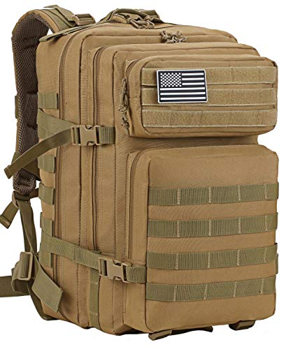 Luckin Packin Tactical Backpack,Military Backpack,Molle Bag 45 Liter Large Khaki