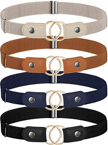 SATINIOR 4 Cinturones Elástico Sin Hebilla Cinturones de Cintura Elásticos Ajustables con 4 Anillos Dorados Hebillas Círculo Dorado