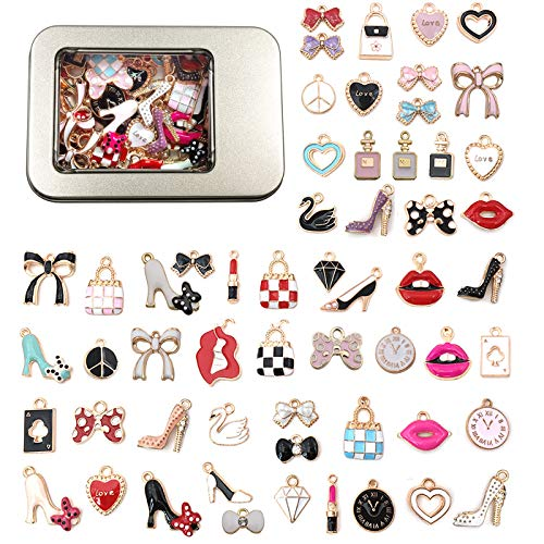 FANDOL Charms for Jewelry Making Supplies - Gold Plated Enamel Pendants -Assorted Lipstick Perfume Fashion Lady Charms for DIY Earring Bracelet Bangle Necklace Keychain 55pcs (Fashion)