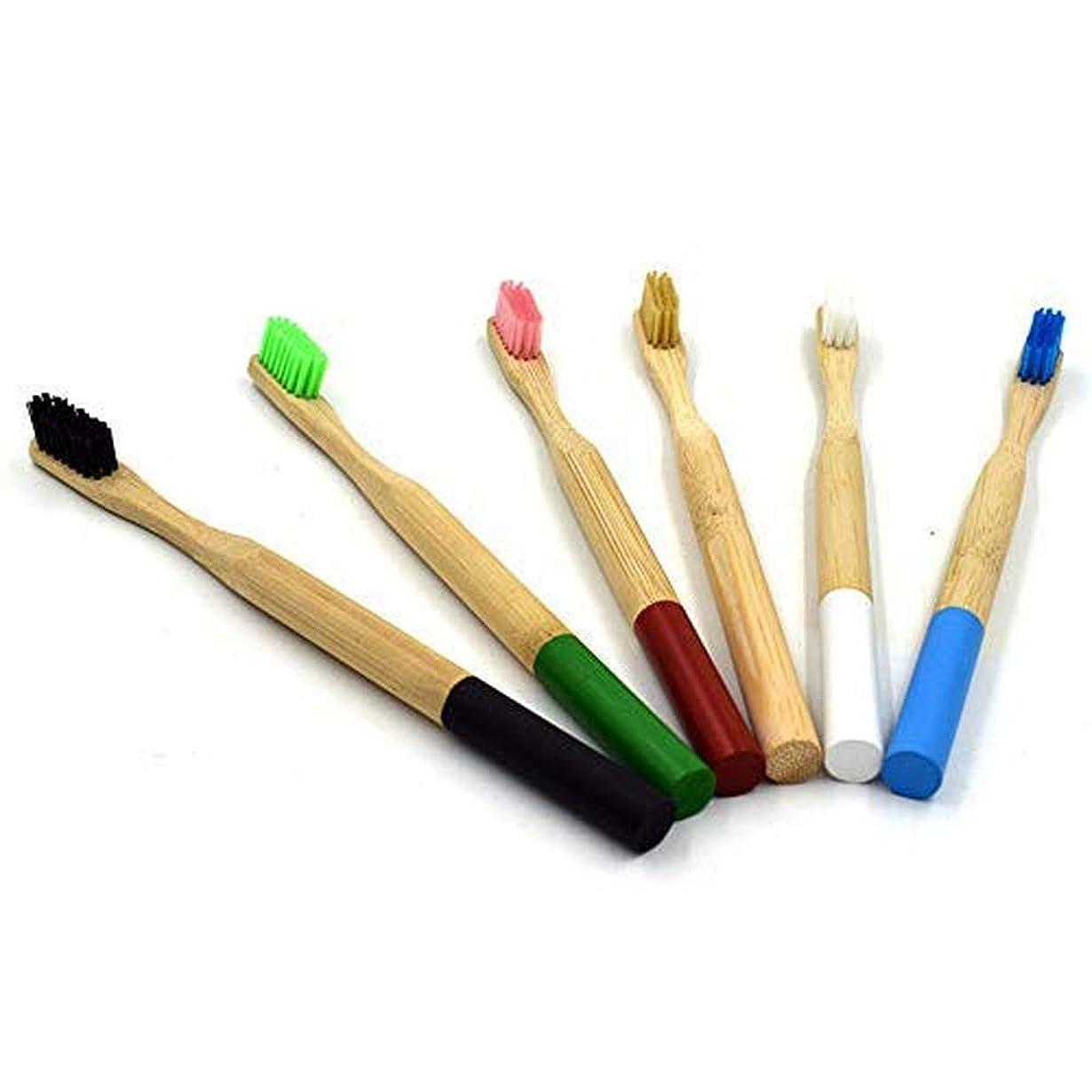 固める比喩高いTAOVK 6pcs 柔らかい毛の木製の歯のブラシ竹のハンドルの歯科口腔ケアの歯ブラシ