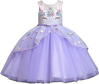 79a7d6c3aa783 Solike Robe de Soirée Enfant Fille Costume Licorne Robe Florale Princesse  Tutu Jupe Canaval Déguisement de