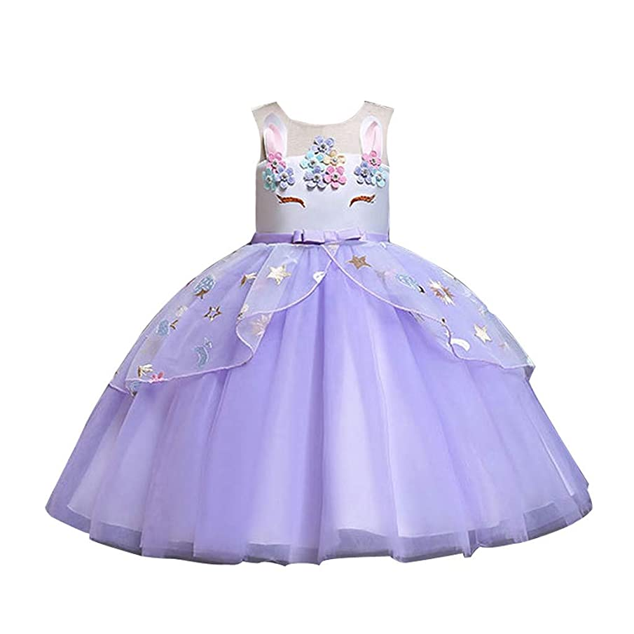 Anniversary promotion Baby Girl Unicorn Costume Party Dress Tutu Kids Cute Flower Princess Pageant Carnival Clothes(Purple,4-5 Years)