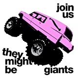 Link to Amazon They Might Be Giants Album, Join Us,  It shows a pink hearse with a monster truck under carriage popping a wheelie.