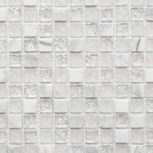 Piastrelle a mosaico, traslucide, di colore bianco, per pareti, bagno, doccia, cucina, specchio, rivestimento, vasca da bagno, mosaico