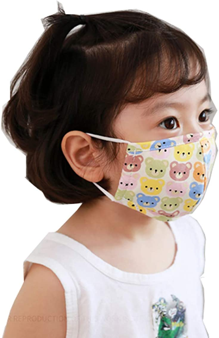 Protective Kid Face Mask 3-Ply 100% Cotton Washable Reusable Adjustable Earloop