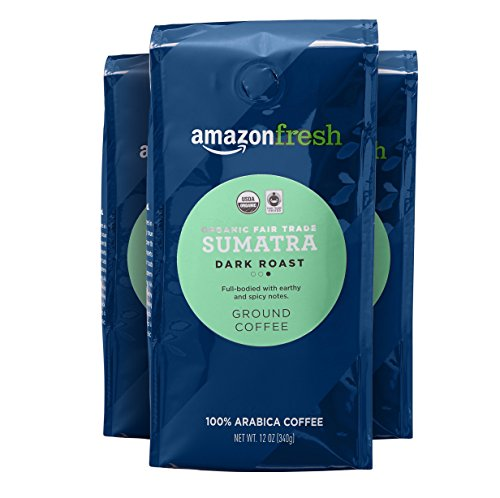 AmazonFresh Organic Fair Trade Sumatra Ground Coffee, Dark Roast, 12 Ounce (Pack of 3)