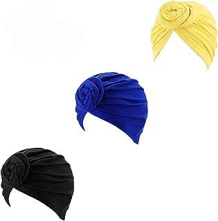 3 paquetes de sombrero de maquillaje con nudos para mujeres, turbante africano, algodón, con anudado