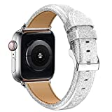 Wolait Compatible with Smart Watch Band 42mm 44mm, Genuine Leather Shiny Glitter Smooth Strap Wristband for iWatch SE Series 6 5 4 3 2 1 Sport Women- Silver