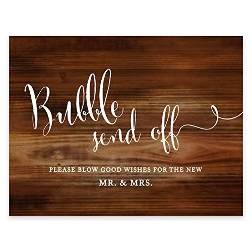 Andaz Press Wedding Party Signs, Rustic Wood Print, 8.5x11 inch, Bubble Send Off Please Blow Good Wishes for the New Mr. & Mrs. Sign, 1 Pack, Favors Bubbles Blow Good Wishes