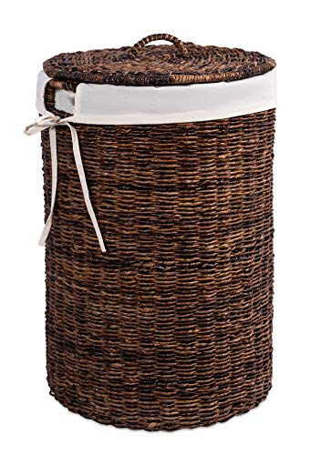 BIRDROCK HOME Abaca Laundry Hamper with Liner - Round Clothes Bin with Lid - Organize Laundry - Cut-Out Handles for Easy Transport - Includes Machine Washable Canvas Liner (Espresso)