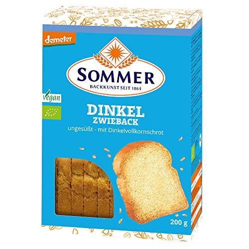 SOMMER Bio Dinkel-Zwieback, demeter, ungesüßt, 200 g