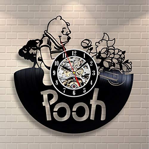 ddmxia 3D Schallplatte Wanduhr Modernes Design Winnie The Pooh Cartoon Uhr Dekorative Kinderzimmer Wanduhr Wohnkultur Geschenke für Kinder