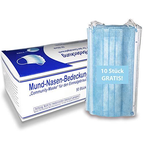 Koru Kids® 50 Stück + 10 Stück GRATIS Mund-Nasen-Bedeckung - Einweg - 3lagig - für privaten Gebrauch - Gesichtsmaske