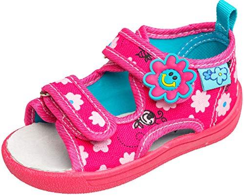 gibra® Freizeitschuhe Sandalen aus Textil mit Lederinnensohle für Babys, Kleinkinder, Kinder, Art. 3747, mit Klettverschluss, pink, Gr. 23