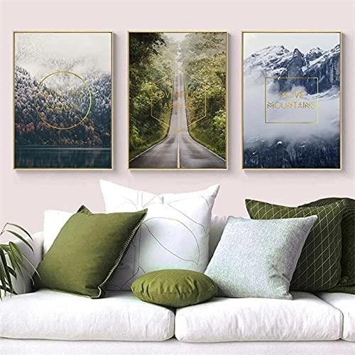 Moderno bosque paisaje pared arte lienzo pintura decoración del hogar carteles nórdicos e impresiones cuadros de pared para sala de estar 40X60X3Pcs sin marco