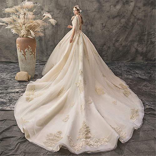 Kleider Brautkleid Glänzende Brautkleider Blumen Braut Spitze Applique Abendkleid V-Ausschnitt Träger Kleider Mehrere Größen für die Hochzeit, LIFU, Champagner, Klein